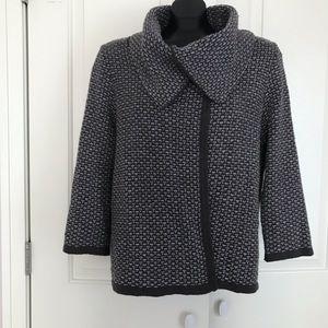 Grey knit cowl neck cardigan sweater